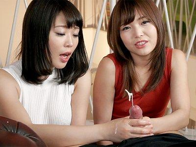 Shino Aoi & Yui Kawagoe's teasing handjob